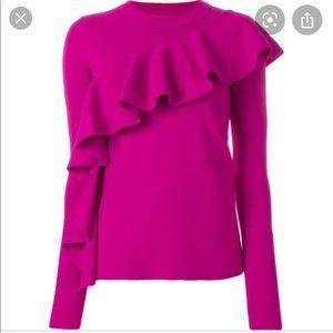 DVF Diane von Furstenberg ruffle top ribbon pink